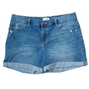 Wrangler High Rise Blue Jean Cuffed Shorts, 14